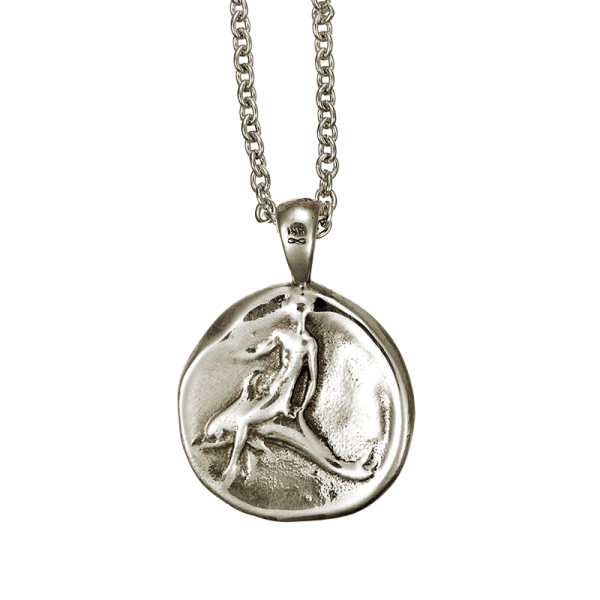 DOLPHIN COIN PENDANT WHITE GOLD