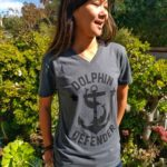 Dolphin Defender WomensV Neck Tee Dolphin Project Anchor