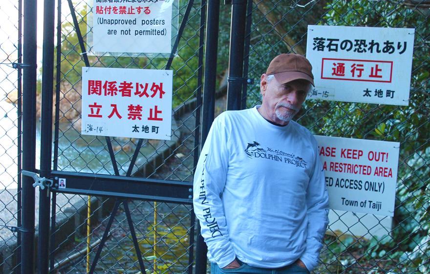 Ric O'Barry at the Cove, Taiji, Japan.