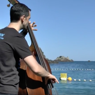 Double bassist Paul Dwyer plays at The Cove, Taiji, Japan