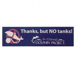 Dolphin Project Thanks, but NO Tanks bumper sticker