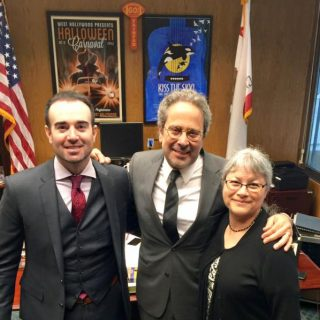 John Hargrove with Assemblyman Richard Bloom, D-Santa Monica, and Dr. Naomi Rose of the Animal Welfare Institute. Image: Jennifer Fearing