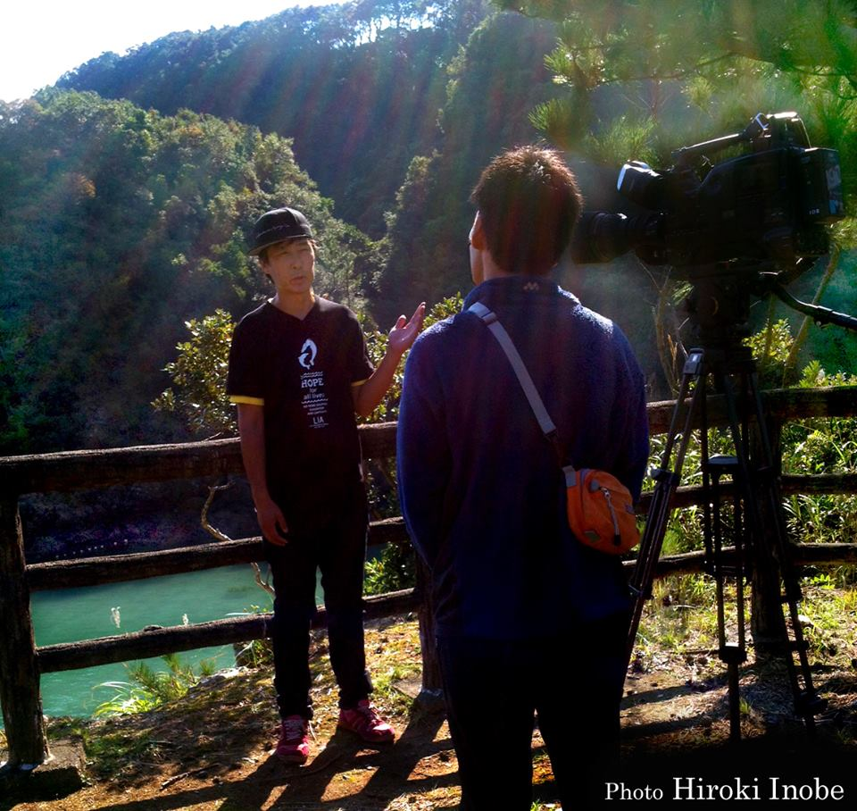 Ren being interviewed in Taiji, Japan.