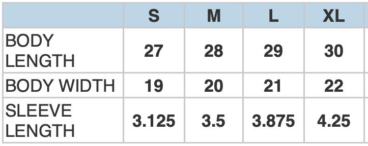 03499MR Size Chart