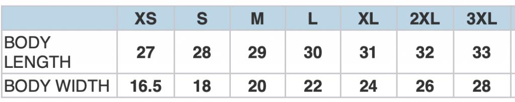 3001CVC Size chart