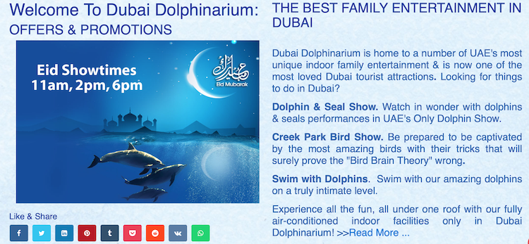 Dubai Dolphinarium website.