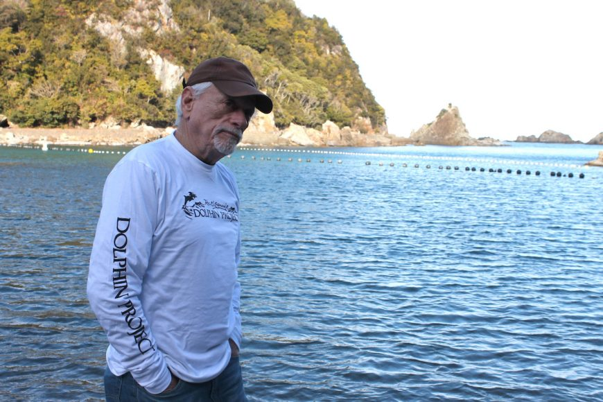 Ric O'Barry at the Cove, Taiji, Japan