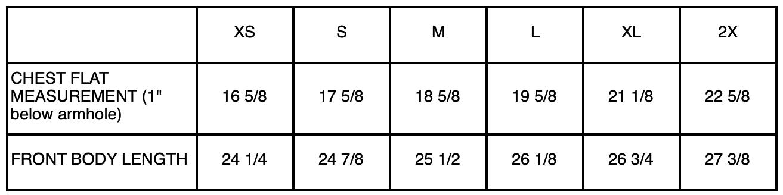73001 Size Chart