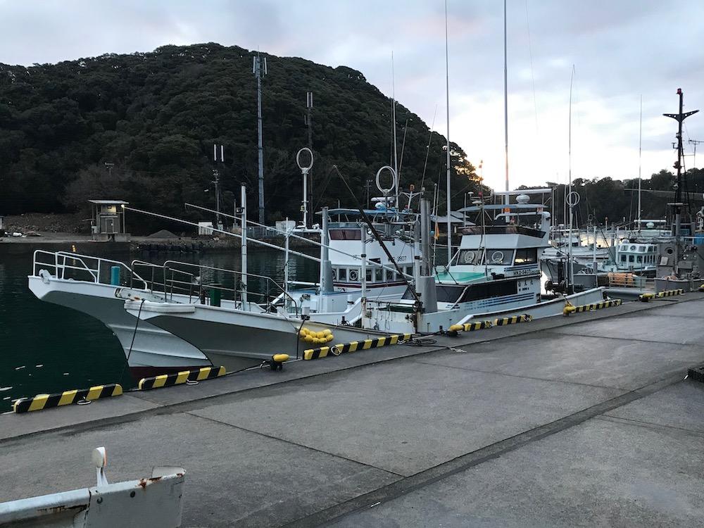 Banger boats with banger poles removed, indicating the end of Taiji's dolphin hunting season, Taiji, Japan